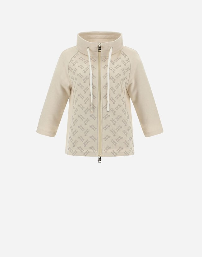 MONOGRAM EMBROIDERED CAPE IN FLEECE WITH LUREX Herno 1