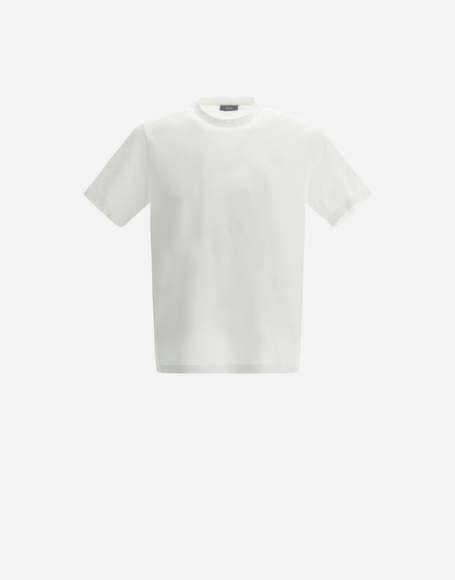 SUPERFINE COTTON STRETCH T-SHIRT WITH CUTS ON THE BACK Herno 1