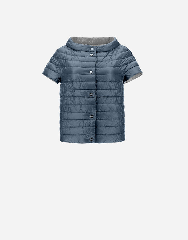 REVERSIBLE BICOLOR CAPE WITH SHORT SLEEVES Herno 1