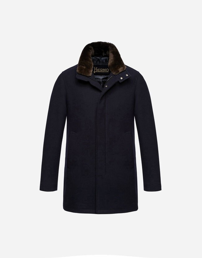 DIAGONAL WOOL CARCOAT WITH FUR Herno 1