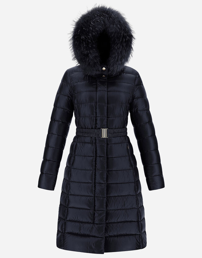 NYLON ULTRALIGHT LONG BELTED COAT WITH FUR Herno 1