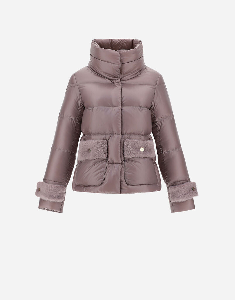 NYLON ULTRALIGHT DOWN JACKET WITH FAUX FUR Herno