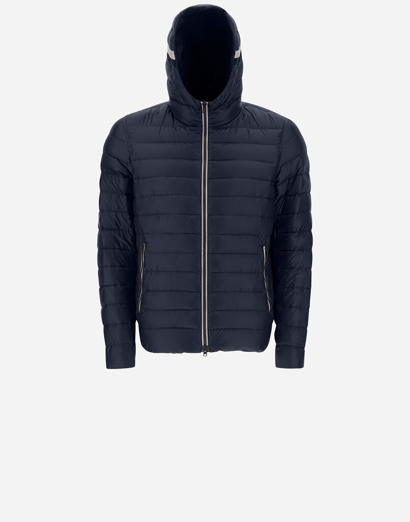 NYLON ULTRALIGHT BOMBER WITH TRICOLOUR HOOD DETAIL Herno