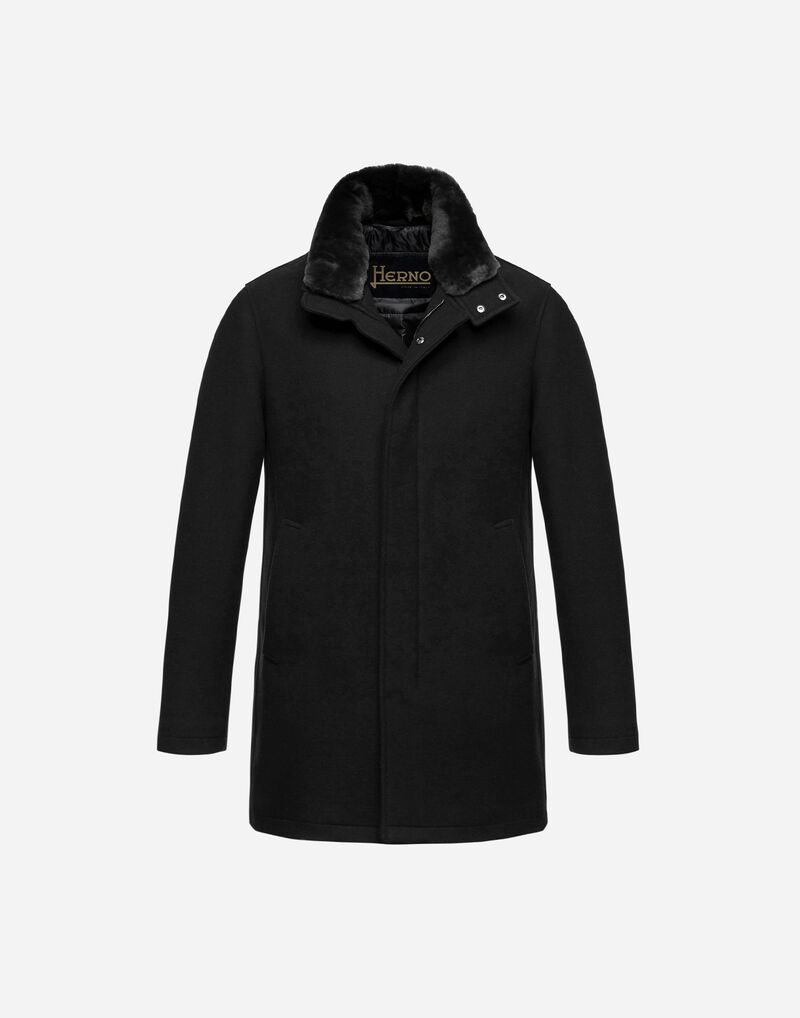 DIAGONAL WOOL CARCOAT WITH FUR Herno