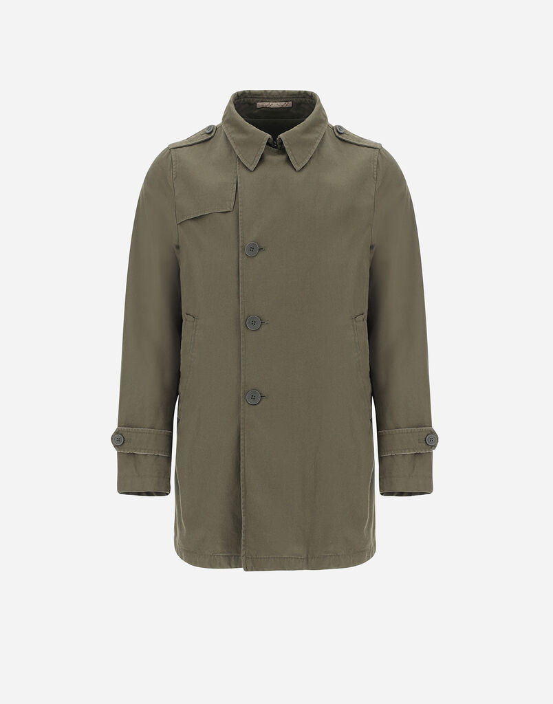 DELON WASHED PEACOAT WITH MONOGRAM Herno
