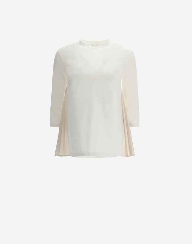 CHIC COTTON JERSEY T-SHIRT WITH  ¾-LENGTH SLEEVES AND TAFFETA Herno 1